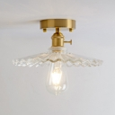 Clear Glass Scalloped Ceiling Light Vintage Industrial 1 Light Semi Flush Light in Brass for Corridor Hallway