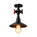 1 Bulb Flared Hallway Light Fixtures Industrial Country Style Ceiling Light with Metal Shade in Black/Aged Bronze/Aged Silver