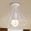 Black/White Diamond Shape Ceiling Lamp with Metal Cage Industrial 1 Head Ceiling Flush Mount