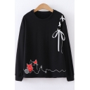 Chic Lace-Up Shoulder Crewneck Long Sleeve Cartoon Cat Print Loose Fit Sweatshirt