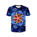 Awesome 3D Line Floral Pattern Blue Short Sleeve Casual T-Shirt