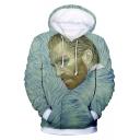 Fashion 3D Van Gogh Portrait Print Long Sleeve Green Drawstring Hoodie