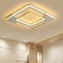 White 2 Square Frame Flush Light Contemporary Metal LED Flushmount for Sitting Room Bedroom