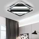 Squared LED Flush Lighting with Strips Design Modern Fashion Aluminum Ceiling Light in Black