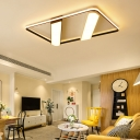 Acrylic Shade Linear Flushmount with Rectangle Frame Stylish Modern LED Ceiling Lamp for Sitting Room