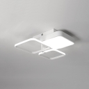 3/4 Heads Square Flush Light Simplicity LED Ceiling Flush Mount with Acrylic Shade in White