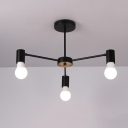 Triple Lights Open Bulb Hanging Light Minimalist Industrial Metallic Chandelier in Black