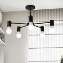 Black Branch Hanging Light Industrial Metal 5 Lights Decorative Chandelier for Living Room