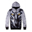 Cool 3D Wolf Printed Long Sleeve Loose Relaxed Grey Drawstring Hoodie