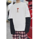 Simple Hand Floral Printed Layer Patched Long Sleeve Street Style Oversized T-Shirt