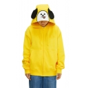 Kpop BT21 ARMY Lovely Cartoon Ear Design Long Sleeve Chic Embroidered Loose Fit Zip Up Hoodie