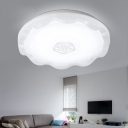 Round Shape Ceiling Lamp with Wavy Edge Modernism Acrylic LED Lighting Fixture in White