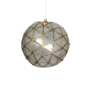 Brass Finish Ball Suspension Light Concise Shelly 1 Bulb Handmade Hanging Ceiling Lamp