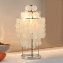 Modern Design 3 Tiers Table Lamp Sea Shell 1 Head Decorative Standing Table Light in Silver