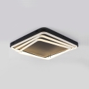 Tiered LED Flush Mount with Square Metal Canopy Stylish Modern Ceiling Light in Warm/White