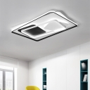 Square/Round Canopy Flush Light with Rectangle Frame Modern Metal LED Ceiling Fixture in Warm/White