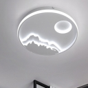 Concise Circular Flush Light Fixture with Mountain View Metal LED Ceiling Lamp in Warm/White