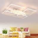 Ultra Thin Ceiling Lamp with Geometric Frame Contemporary Metallic LED Lighting Fixture in White