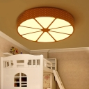 Lemon Design LED Flush Mount Light Red/Yellow Metallic Lighting Fixture for Children Room