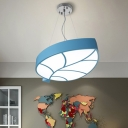 Leaf Design Ceiling Fixture Nursing Room Metallic LED Flush Light in Blue/Red/Yellow