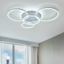 Thin Ring LED Flush Ceiling Light Simplicity Acrylic 2/3/5/6 Heads Flush Light in Integrated LED