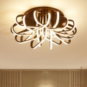 Modernism Curved LED Ceiling Light Metal Lighting Fixture in Brown for Restaurant