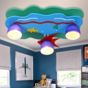 Blue Glass Shade Flush Mount with Fish Nautical 3 Heads Flush Light for Amusement Park
