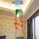Triple Lights Monkey Flush Mount Children Room Glass Shade Hanging Lamp in Blue