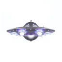 UFO Shape Chandelier Lamp Amusement Park Metallic 6 Lights Suspension Light in Silver
