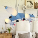 6 Lights Airplane Chandelier Lighting Amusement Park Glass Shade Hanging Lamp in Sky Blue
