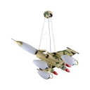 Airplane 7 Lights Hanging Chandelier with Camouflage Pattern Green Metal Suspended Light for Boys Room
