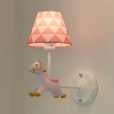 White Finish Cartoon Horse Sconce Light Resin Single Light Wall Lamp for Corridor