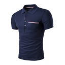 Fancy Striped Pocket Patched Chest Short Sleeve Men's Slim Fit Business Polo