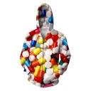 Cool 3D Colorful Pill Printed Long Sleeve Zip Up Hoodie