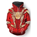 3D Printed Spider Man Cosplay Costume Long Sleeve Red Drawstring Hoodie