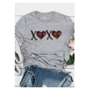 Grey Creative Check Heart Letter XX Print Casual Loose T-Shirt