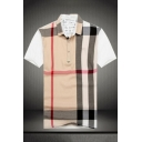 Summer Fashion Check Printed Short Sleeve Loose Fit Cotton Polo for Men