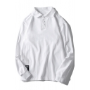 Simple Letter Patched Three-Button Casual Loose Cotton Long Sleeve Polo Shirt