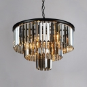 Smoke Crystal 3 Tiers Chandelier Modern Design 6 Bulbs Art Deco Hanging Light Fixture in Black