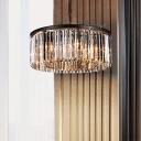 Black Finish Crystal Chandelier Modernism Metallic 6 Lights Hanging Light for Exhibition Hall
