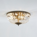 4/6 Lights Bowl Shade Ceiling Light Retro Style Vintage Crystal Flush Mount Lighting in Antique Brass