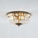 4/6 Lights Bowl Shade Ceiling Light Retro Style Vintage Crystal Flush Mount Lighting in Antique Brass