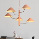 Orange Mushroom Chandelier Lamp with Metal Shade Macaron 3/5 Lights Lighting Fixture for Kids
