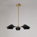 Geometric Shade Hanging Light Modern Chic Metal 3 Heads Chandelier in Gold for Hotel Hall