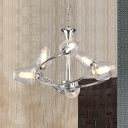 6 Heads Swirl Arm Indoor Lighting Fixture Modern Chic Clear Glass Chandelier Lamp in Chrome