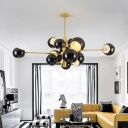 Metallic Ball Shade Hanging Lamp Post Modern Rotatable Multi Light Suspension Light in Gold
