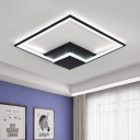 Metallic Square Frame LED Flush Light Minimalist Modern Art Deco Indoor Lighting Fixture in Black