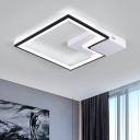 Black and White Squared Ceiling Light with Metal Frame Modernism LED Flush Light for Hotel Hall