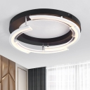 Half Round LED Semi Flush Mount Contemporary Metal Decorative Surface Mount Light in Warm/White