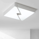 Acrylic Geometric LED Ceiling Fixture Minimalist Nordic Style Flush Mount in White for Coffee Shop